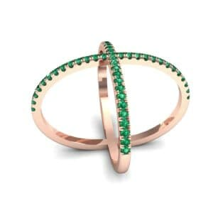 Pave Emerald X Ring (1.06 Carat)