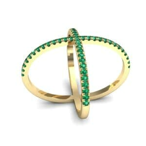 Pave Emerald X Ring (1.06 Carat)
