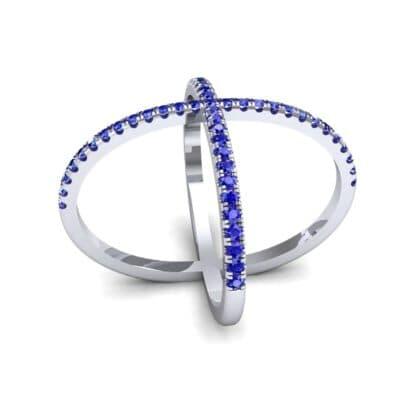 Pave Blue Sapphire X Ring (1.06 Carat)