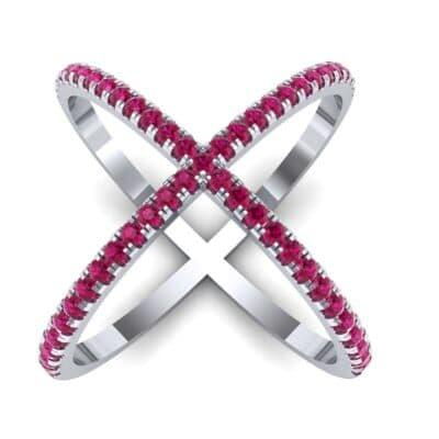 Pave Ruby X Ring (1.06 Carat)