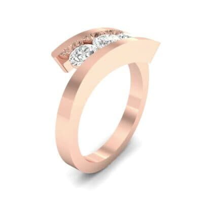 Floating Trio Diamond Bypass Engagement Ring (0.9 Carat)