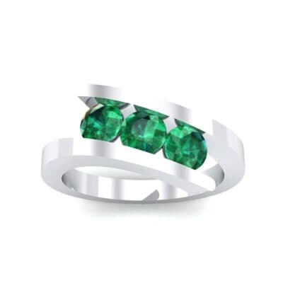 Floating Trio Emerald Bypass Engagement Ring (1.14 Carat)