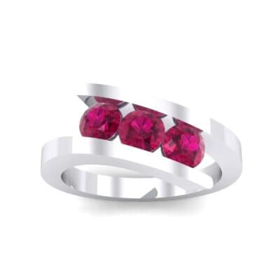 Floating Trio Ruby Bypass Engagement Ring (1.14 Carat)
