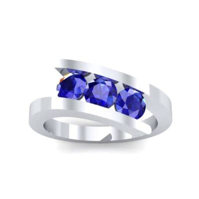 Floating Trio Blue Sapphire Bypass Engagement Ring (1.14 Carat)