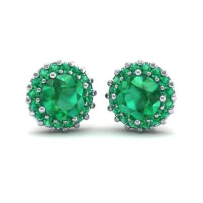 Round Halo Emerald Earrings (1.66 Carat)