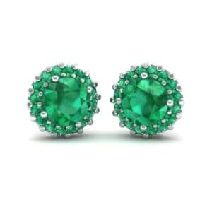 Round Halo Emerald Earrings (1.66 Carat)