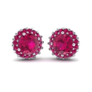 Round Halo Ruby Earrings (1.66 Carat)