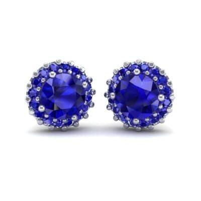 Round Halo Blue Sapphire Earrings (1.66 Carat)