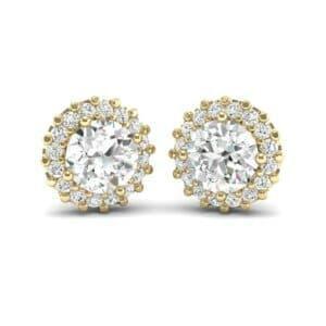Round Halo Diamond Earrings (1.04 Carat)