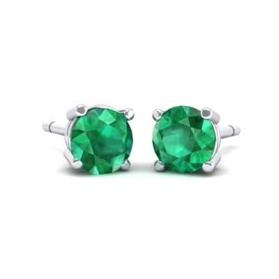 Classic Round Brilliant Emerald Stud Earrings (0.7 Carat)