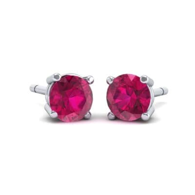 Classic Round Brilliant Ruby Stud Earrings (0.7 Carat)