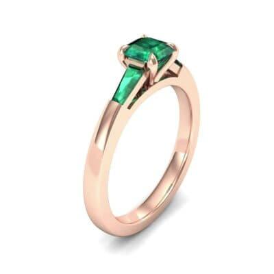 Tapered Baguette Princess-Cut Emerald Engagement Ring (0.64 Carat)