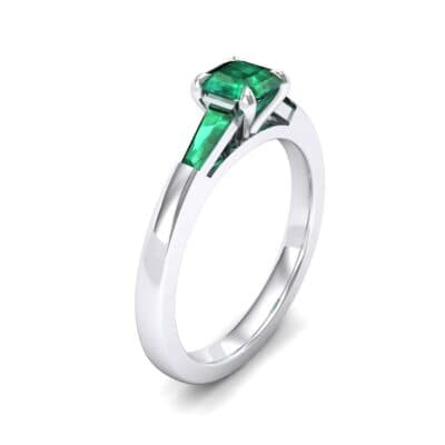 Tapered Baguette Princess-Cut Emerald Engagement Ring (0.64 Carat)