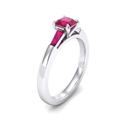 Tapered Baguette Princess-Cut Ruby Engagement Ring (0.64 Carat)