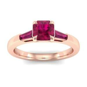 Tapered Baguette Princess-Cut Ruby Engagement Ring (0.64 Carat)