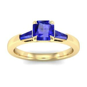 Tapered Baguette Princess-Cut Blue Sapphire Engagement Ring (0.64 Carat)