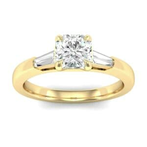 Tapered Baguette Princess-Cut Diamond Engagement Ring (0.64 Carat)