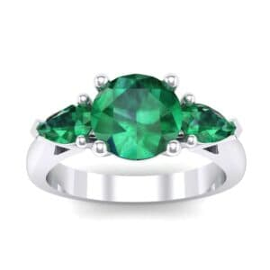 Pear Three-Stone Emerald Engagement Ring (1.55 Carat)