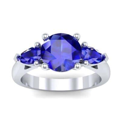 Pear Three-Stone Blue Sapphire Engagement Ring (1.55 Carat)