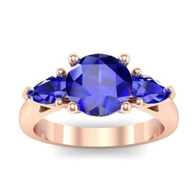 Pear Three-Stone Blue Sapphire Engagement Ring (1.55 Carat)