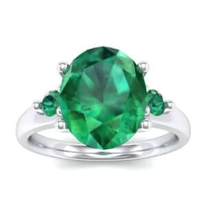 Shoulder Accent Oval Emerald Ring (2.67 Carat)