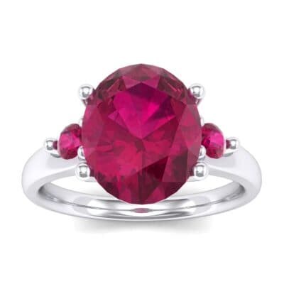 Shoulder Accent Oval Ruby Ring (2.67 Carat)