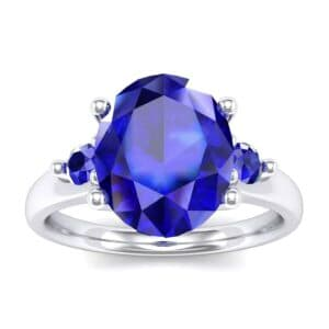 Shoulder Accent Oval Blue Sapphire Ring (2.67 Carat)