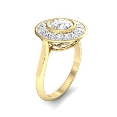 Deco Bezel-Set Halo  Diamond Engagement Ring (1.99 Carat)