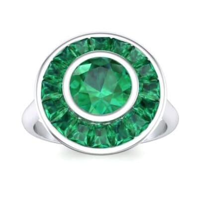 Deco Bezel-Set Halo  Emerald Engagement Ring (1.99 Carat)