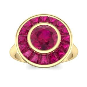 Deco Bezel-Set Halo  Ruby Engagement Ring (1.99 Carat)