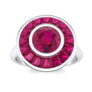 Deco Bezel-Set Halo  Ruby Engagement Ring (1.99 Carat)