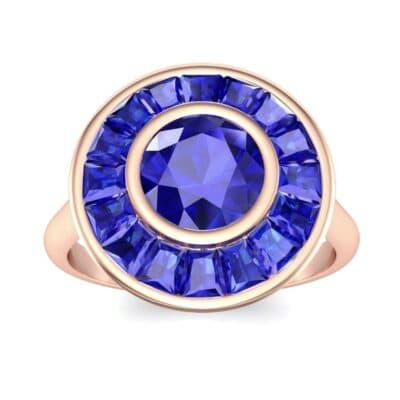 Deco Bezel-Set Halo  Blue Sapphire Engagement Ring (1.99 Carat)