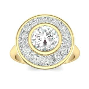 Deco Bezel-Set Halo  Diamond Engagement Ring (1.99 Carat)