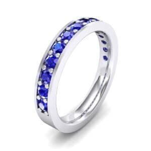 Flat-Sided Pave Blue Sapphire Ring (0.62 Carat)