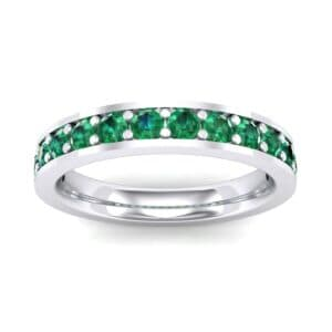 Flat-Sided Pave Emerald Ring (0.62 Carat)