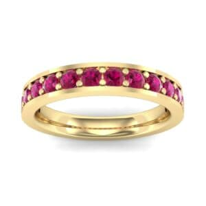Flat-Sided Pave Ruby Ring (0.62 Carat)