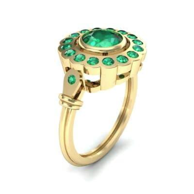 Aster Pierced Halo Bezel-Set Emerald Engagement Ring (1.16 Carat)