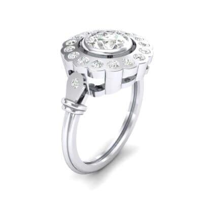 Aster Pierced Halo Bezel-Set Diamond Engagement Ring (0.8 Carat)