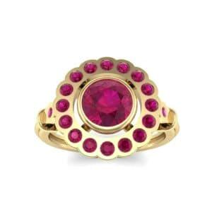 Aster Pierced Halo Bezel-Set Ruby Engagement Ring (1.16 Carat)