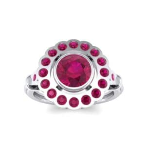Aster Pierced Halo Bezel-Set Ruby Engagement Ring (1.16 Carat)