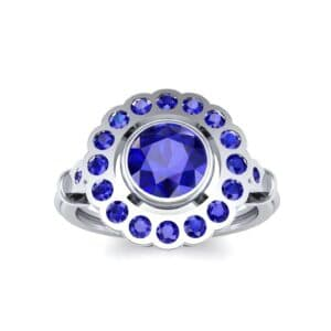Aster Pierced Halo Bezel-Set Blue Sapphire Engagement Ring (1.16 Carat)