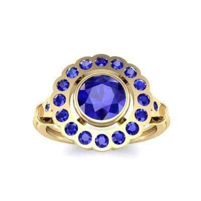 Aster Pierced Halo Bezel-Set Blue Sapphire Engagement Ring (1.16 Carat)