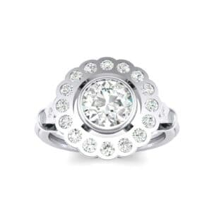 Aster Pierced Halo Bezel-Set Diamond Engagement Ring (0.8 Carat)