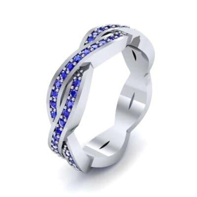 Twist Pave Blue Sapphire Eternity Ring (0.54 Carat)