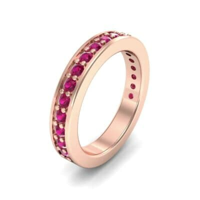 Flat-Sided Pave Ruby Ring (0.86 Carat)