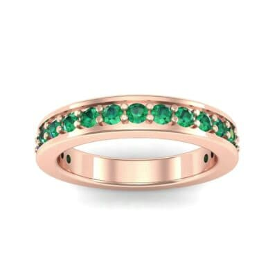 Flat-Sided Pave Emerald Ring (0.86 Carat)