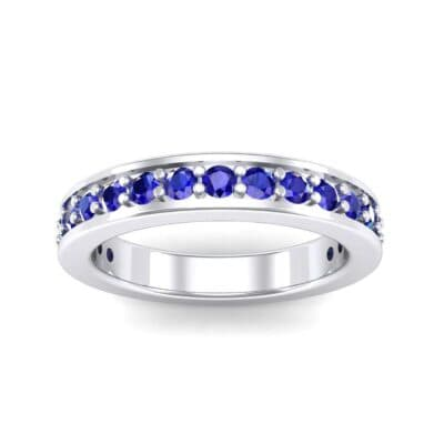 Flat-Sided Pave Blue Sapphire Ring (0.86 Carat)
