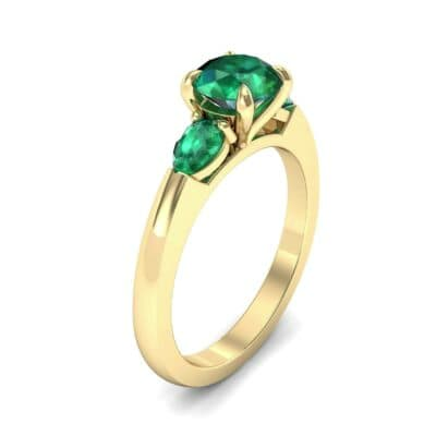 Claw Prong Pear Three-Stone Emerald Engagement Ring (1.16 Carat)