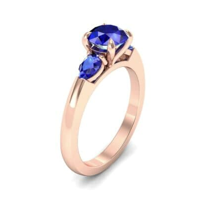 Claw Prong Pear Three-Stone Blue Sapphire Engagement Ring (1.16 Carat)