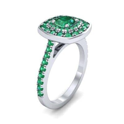 Gala Double Halo Cushion-Cut Emerald Engagement Ring (0.92 CTW)